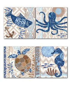 Love this Barrier Reef Panel - Set of Four on #zulily! #zulilyfinds