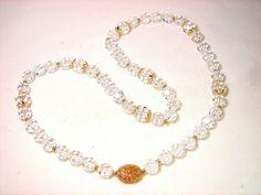 "Vintage SAL Aurora Borealis AB Swarovski Crystal Strand Necklace 24"" #SAL #StrandString"
