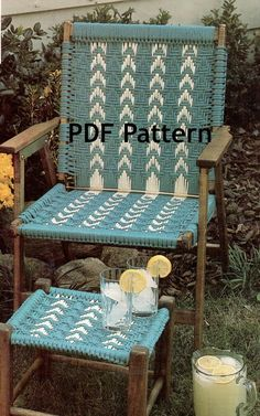 Great pattern for those old chairs to repurpose. Macramé Chair and Footstool Pattern Classic Hippie Boho