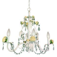 badget crystal chandelier with porcelaine roses