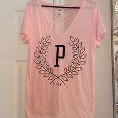 Pink top Pink top.  Lace back. Perfect condition PINK Victoria's Secret Tops Tees - Short Sleeve