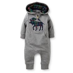 1-Piece Microfleece Jumpsuit | Carter's | Navy blue plaid moose applique on grey