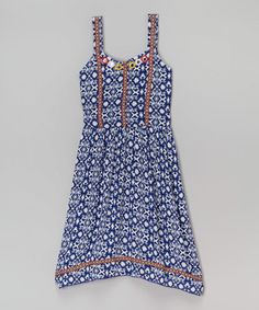 Another great find on #zulily! Navy & Ivory Abstract Sidetail Dress - Girls #zulilyfinds