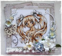 """Shabby Card by LLC DT Member Karita Vainio using papers from Maja Design's """"Vintage Summer Basics"""" collection and a Make It Crafty Image, coloured with Copics."""