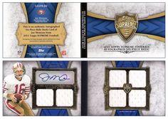 Joe Montana 2011 Topps Supreme SASPR-JM AU 6 Jersey Swatch Book Card (#02/10)
