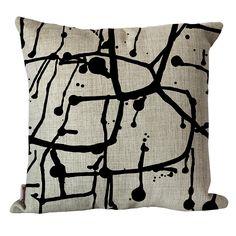 Black ink splash cushion | hardtofind.