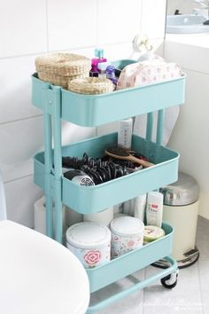 I love IKEA! Their units seem to be asking to hack them, and today I'd like to share some ideas for IKEA Raskog kitchen cart and ways to use it. Ikea Bathroom Storage, Bathroom Cart, Toilet Storage, Ikea Storage, Bathroom Organization, Organization Hacks, Dorm Bathroom, Storage Cart, Paper Storage
