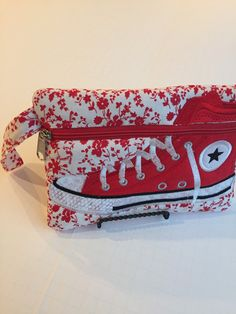 High Top Shoe Zippered Pouch, Red and White, Bag, Wristlet by JazzyJoDesigns on Etsy