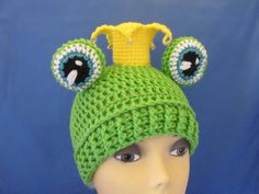 Crochet Frog Princes hat with Crown and Eyes by MagicalStrings