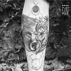 flowery bear tattoo by dinonemec