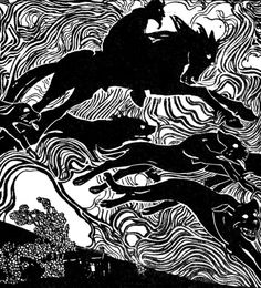 """Wild Hunt: The ~ The Devil rides out with the Cŵn Annwn to hunt souls. Illustration by Willy Pogany, from """"The Welsh Fairy Book. Original Fairy Tales, Mythological Characters, Celtic Mythology, Demonology, Wild Hunt, Black And White Illustration, Art For Art Sake, Gods And Goddesses, Faeries"""