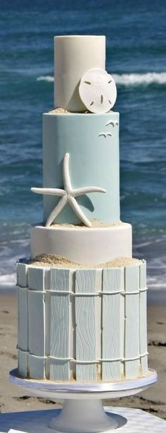 Wedding Cakes A beautifully surprising beach wedding cake. Get all the inspiration you need to plan and decorate your beach themed wedding! Gorgeous Cakes, Pretty Cakes, Amazing Cakes, Fondant Cakes, Cupcake Cakes, Fondant Ruffles, Fondant Flowers, Fondant Figures, Super Torte