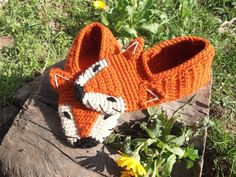 Fox Crochet Home Slippers Unisex Slippers House Shoes by dudush