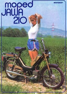 Jawa Moped 210 Vintage Ad x Reproduction Metal Sign Gas Moped, Puch Moped, Scooter 50cc, Moped Motorcycle, Vintage Moped, Vintage Motorcycles, Motor Scooters, Vespa Scooters, Vintage Girls