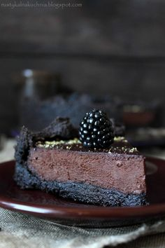 rustic kitchen - cooking at home: Chocolate tart with blackberries