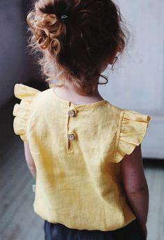 Handmade Linen Blouse With Flutter Sleeves | NoisyForest on Etsy