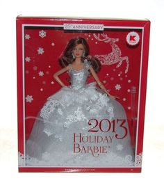 2013 Holiday Barbie Doll Brunette 25th Anniversary w Stand NEW NIB #Mattel #Dolls #barbie