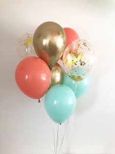 Coral Mint Chrome Gold Gold Confetti Latex Balloons Mint and Coral Party Mint Bridal Shower Balloons Baby Shower Mint and Coral Mint to Be – Quinceanera 2020 Coral Baby Showers, Peach Baby Shower, Girl Shower, Coral Party, Mint Party, Clear Balloons, Latex Balloons, Filling Balloons, Coral Baby Shower Decorations