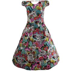 Arrive in Skulls Day Of The Dead Multicolor Skull Dress ($95) ❤ liked on Polyvore featuring dresses, plus size cotton dresses, cut out dresses, plus size dresses, plus size day dresses and pocket dresses