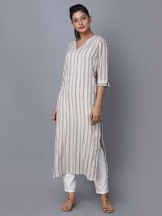 Beige Striped Cotton Kurta is part of Kurta designs women - Indian Fashion, Clothes For Women, Designs For Dresses, Kurti Designs, Kurta Designs, Kurti Neck Designs, Sleeves Designs For Dresses, Kurta Designs Women, Cotton Kurti Designs