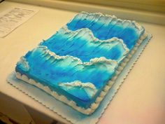Waves Yellow cake with white whipped icing. Originally I was just experimenting and found a neat trick to getting realistic waves! Ocean Cakes, Beach Cakes, Cake Icing, Cupcake Cakes, Cupcake Ideas, Fondant Cakes, Surf Cake, Surfboard Cake, 2 Birthday Cake