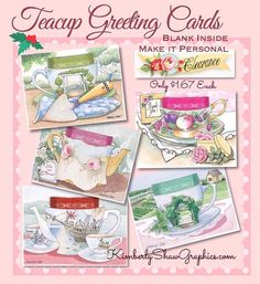 Teacup Greeting Cards On SALE