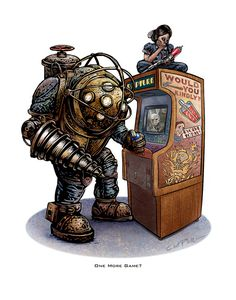 One More Game 11 x 14 Signed Print Bioshock tribute by ChetArt