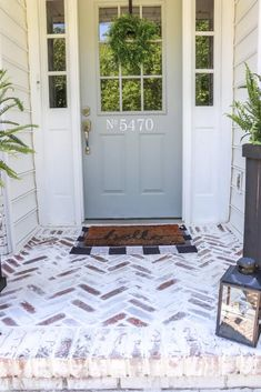 We LOVE our Limewashed Exterior, but our dated red pavers did not match the look we wanted. Here's how to install and mortar wash a herringbone brick patio. Red Brick Pavers, Brick Porch, Brick Paver Patio, Brick Patios, Porch Flooring, Brick Flooring, Floors, Red Brick Exteriors, Painted Pavers