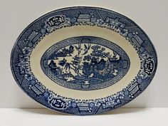 Vintage Blue Willow Serving Platter Plate by Homer Laughlin USA Pottery 13 x 10 #HomerLaughlin  ..... Visit all of our online locations ..... (www.stores.eBay.com/variety-on-a-budget) ..... (www.amazon.com/shops/Variety-on-a-Budget) ..... (www.etsy.com/shop/VarietyonaBudget) ..... (www.bonanza.com/booths/VarietyonaBudget ) .....(www.facebook.com/VarietyonaBudgetOnlineShopping)