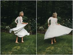 boho chic bride dancing barefoot before her wedding ceremony