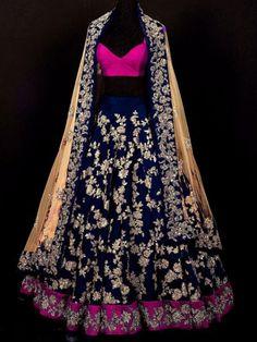 Dark Blue and Hot Pink Bangalori Silk Embroidered Party Lehenga Choli