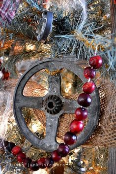 Repurposed & Unexpected Funky Junk Ornaments - Lots of galvanized touches, Perfect with fresh strung cranberries