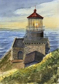 Point-Sur-Lighthouse-California-Matted-Watercolor-Art-Prints