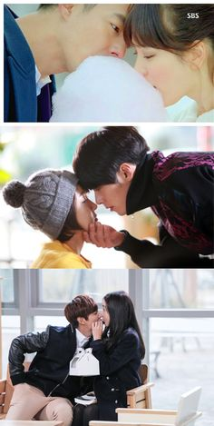 Famous kissing techniques from the land of Korean drama. Toast Kiss (Pinocchio), Donut Kiss (The Heirs), Cotton Candy kiss (That Winter, The Wind Blows), Pasta Kiss (Queen Inhyun's Man), Cappuccino Foam Kiss (Secret Garden), Doll Kiss (Potato Star2013QR3), Beer Foam Kiss (Witch's Love), Candy Kiss (IRIS).