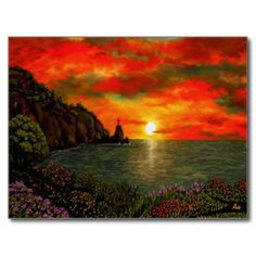 Red Sunset Post Card