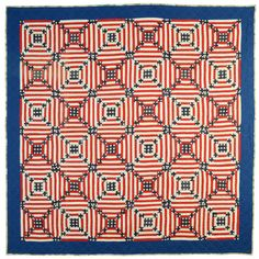 Patriotic Log Cabin Quilt circa 1920, made from flag bunting.  Stella Rubin Antiques