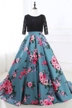 Prom Dress Princess, Prom Dresses Two Piece Black Lace and Floral Prom Dress Half Sleeves Shop ball gown prom dresses and gowns and become a princess on prom night. prom ball gowns in every size, from juniors to plus size. Floral Prom Dresses, Elegant Bridesmaid Dresses, Prom Dresses Two Piece, Half Sleeve Dresses, Unique Prom Dresses, Tulle Prom Dress, Lace Dress, Half Sleeves, Lace Bodice