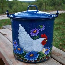 Old Vintage Aluminum Tea Kettle Pot HP Red ROOSTER Hand Painted Wheat Enamel Tin