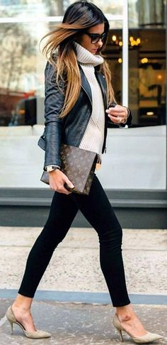 <3 Work Attires <3 Winter <3 Cozy <3 Leather Jacket <3 High Neck Sweater <3