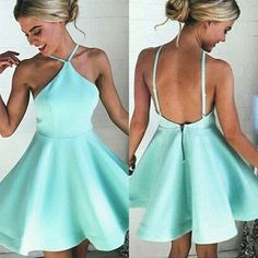 Simple Mint Halter Homecoming Dress,Backless Stain Short Prom Dress HCD98Short Prom Dresses,Homecoming Dresses,Prom Gowns,Party Dresses,Graduation Dresses,Short Prom Dresses,Gowns Prom,Cheap Prom Gowns on Line