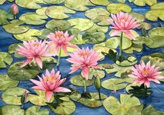 Reproduction of an original watercolor by Wanda Zuchowski-Schick, of Pink Waterlilies in a Water Garden setting. The artwork measures 10 x 15 and comes signed by the artist, unmatted and unframed. This print can be easily matted and framed to fit in an 16 x 20 frame. An excellent addition to any room in your home or office. An 16 x 20 white mat with a foam core backing is available in my store and if purchased I will mount the print before shipping.