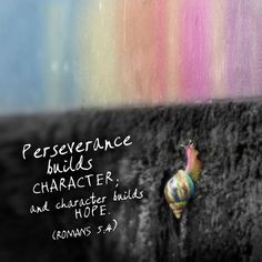 Romans 5:4 I resemble this little snail...often feeling so small...