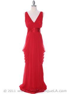 Red Chiffon Evening Dress $88.00
