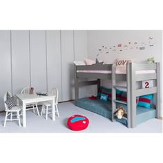 High Bed. I love the mattress underneath as a reading nook and for sleepovers. Available in lots of different colours