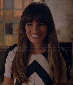 Rachel's black and white chevron striped top on Glee.  Outfit Details: http://wornontv.net/19993/ #Glee #Fox