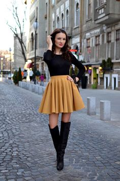 Fall Fashion Trends 2013: Circle skirt, over the knee boots.