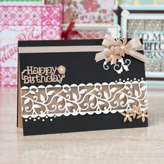 Happy Birthday card made using the @tonicstudiosuk Simply Screens Collection. Click 'Visit Site' above to shop now!