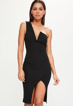 Missguided - Black One Shoulder V Bar Asymmetric Midi Dress