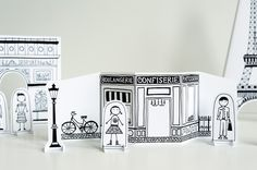 paper city Paris to download, print, cut out and play with ~ maybe even a little color or watercolor painting