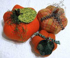 fabric pumpkins  fun plaid   set of 3 p U m P k I by simpledream2, $35.00